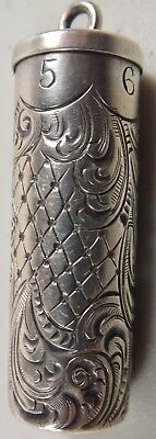 Beautiful Antique Sterling Silver Engraved Pin Or Needle Case / Holder Sizes 5-9