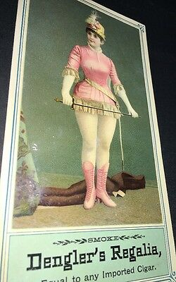 Dengler's Best Cigar Oversize Tradecard Sign Pretty Lady C1900 Big Legs