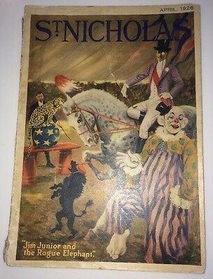 St Nicholas April 1926 Circus Act graphic Art Clowns Cover & Many Ads Ads