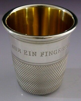 RARE STERLING SILVER GIANT THIMBLE WHISKY TOT CUP BEAKER GERMANY c1990