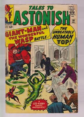 Tales to Astonish # 50  The Unbeatable Human Top !  grade 4.0 scarce book !