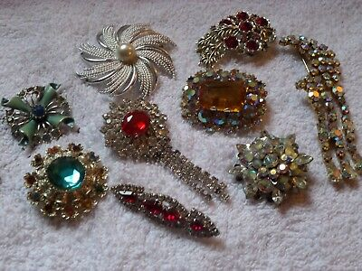 9 Vintage Brooches