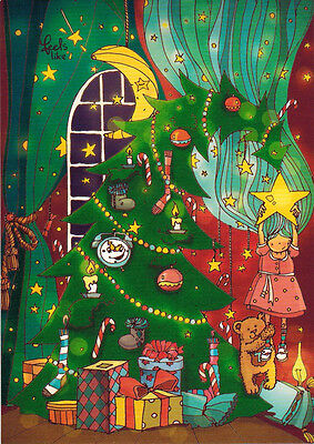VERY CUTE DRAWING OF DECORATED CHRISTMAS TREE Modern Russian postcard