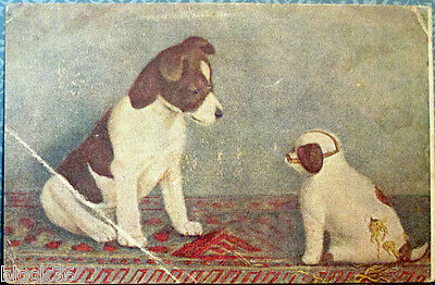 1920's Russian postcard HE IS SO STRANGE drawing of puppies by Lillian Cheviot
