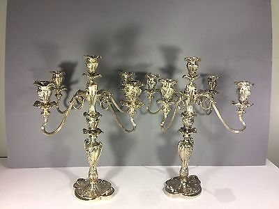 Pair Of Five Branches Art Nouveau  Floral Silverplated Candelabra