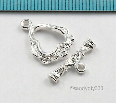 1x BRIGHT STERLING SILVER LUXURY CLASSIC TOGGLE CLASP 13mm (#193)