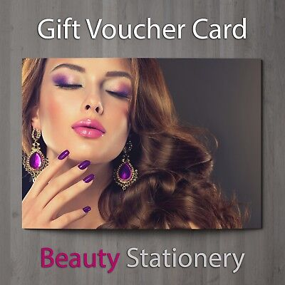 Gift Voucher Beauty Salon Blank Card Nails Facial Makeup Present A7 + Env.