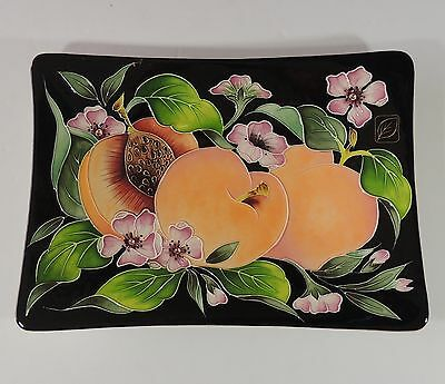 J. McCall 2003 Blue Sky Corp. Peach Plate With Black Background New