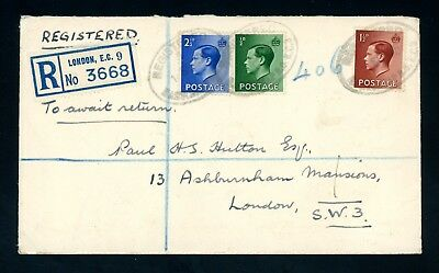1936   (1 Sept)  Edward VIII  3 Values  Registered Cover   (O810)