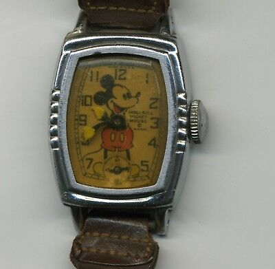 Vintage Ingersoll Mickey Mouse W.D. ENT. Wrist Watch with Five Notches
