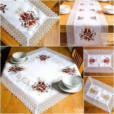 White Christmas Tablecloths Table Runners Doilies Placemats with Lace Guipure