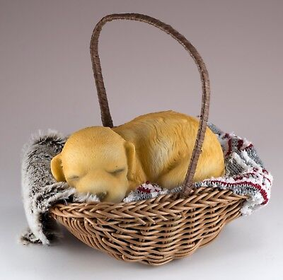 "Puppy Sleeping In Basket With Blankets Dog Figurine 4.5"" Long New In Box!"