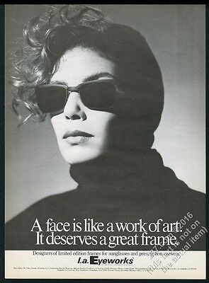 1988 Kelly McGillis photo L.A. Eyeworks sunglasses vintage print ad