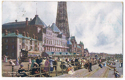 Blackpool - Promenade ,tower & Tram - Railway Official Postcard - Posted 1907