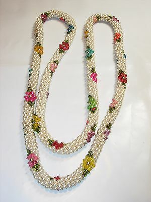 """WOMENS VINTAGE HANDMADE WHITE SEED FAUX PEARL ROPE ROSE FLORAL Necklace 40"""""""