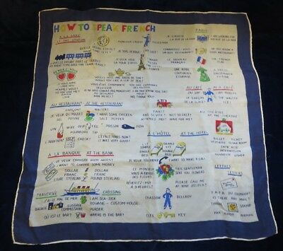 vintage small silk scarf How To Speak French illustrated translation French-Eng.