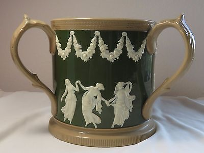 Antique Late Spode Copeland Tyg Green and White  on Tan