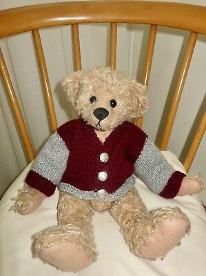*TEDDY CLOTHES* new hand knitted cardigan to suit a 13 inch bear