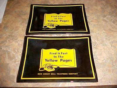 2 Vintage ~NEW JERSEY BELL TELEPHONE~ Find It Fast YELLOW PAGES Glass Tray