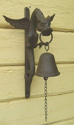 Dragon Bell Wall Mount Flying Dragon Cast Iron Door Bell  New