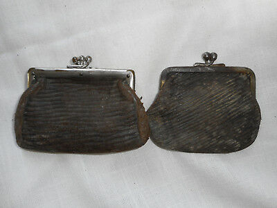 2 Vintage Leather ? Snap Coin Change Purses