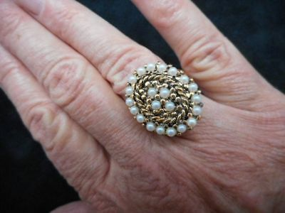 VTG-1960's Antique Bronze Faux Seed Bead White Beads Ring Adjustable