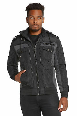 Mens Winter Coat Quilted Puffer Jacket Removable Hood by 9 Crowns essentials