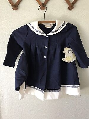 Vintage Baby Girls Navy Blue White Sailor Nautical Swing Dress Jacket Stripe  3T
