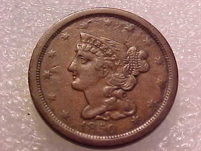 1850 Half Cent nice original chocolate brown VF **FREE US SHIP**