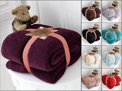 New Teddy Bear Throws Fleece Warm And Cosy Blanket Bed Sofa Double King Size