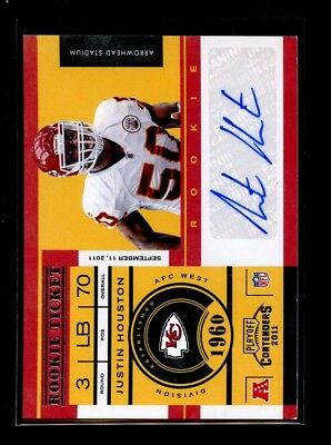 2012 Playoff Contenders Auto #147 Justin Houston Chiefs Mint D012296