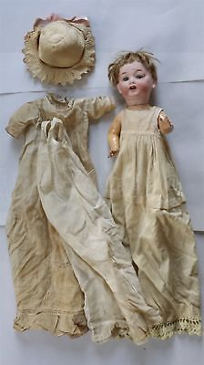 """antique 17"""" MB MORIMURA BISQUE HEAD DOLL japan GLASS EYES full clothing compo"""