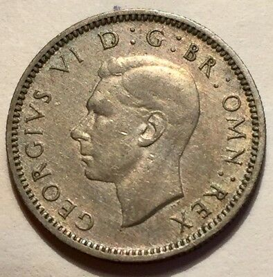 1947 Great Britain 6 Pence King George VI Coin