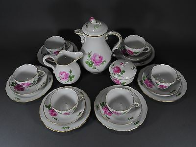 Meissen Kaffeeservice rote Rose coffee service set plate pot cup porcelain