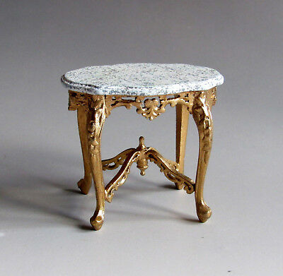 1:12th Scale ~ BESPAQ  DETAILED GILDED / MARBLE SOFA TABLE ~ DOLLS HOUSE