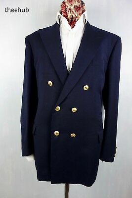Ralph Lauren Polo Vtg D/B Naval Brass Buttons Blazer Jacket Peak Lapels Doeskin