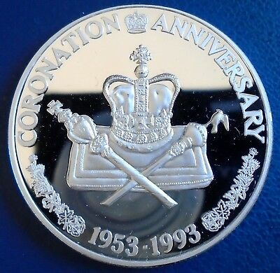 "TURKS & CAICOS: 1993 20 Crowns ""B"", 1 tr oz silver proof + capsule - top grade"