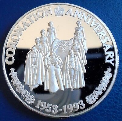 "TURKS & CAICOS: 1993 20 Crowns, ""C"", 1 tr oz silver proof, cap, cert - top grade"