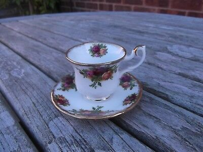 (372) Royal Albert Old Country Roses Miniature Cup & Saucer  1st Quality Perfect