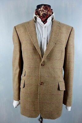 Luxury Tweed Cashmere 3 Ticket Pocket Sand Check Blazer Jacket Brook Taverner