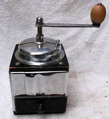 Superb French Art Deco Chrome & Wood Coffee Grinder !