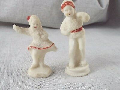Antique Snowbabies Girl & Boy Skating