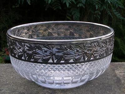 Large Antique French Baccarat Art Nouveau Cut Glass Crystal Bowl In Silver Frame