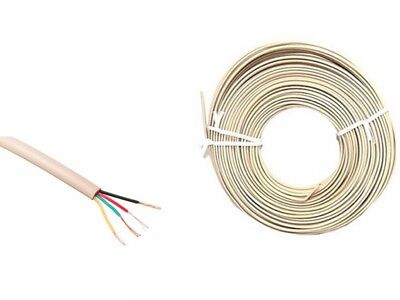 4 Core Ivory Phone Data Telephone Cable/Flex/Wire 100 Mtr Reel