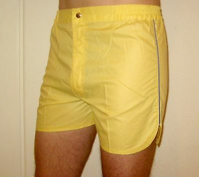 NEW Vtg 70s 80s Vanderbilt YELLOW Striped Mens MEDIUM Retro TENNIS Track shorts