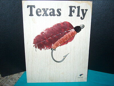 """texas Fly"" 6"" Long Mounted On Board W/tiny Other States Fly' Down In The Corner"