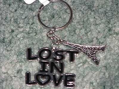 "Girls CLAIRES  ""LOST IN LOVE"" Keychain w/ Eiffel Tower Charm  Black & Silver"