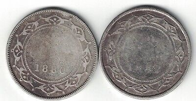 2 X Newfoundland Fifty Cents Victoria Sterling Silver Coins 1880 1882H
