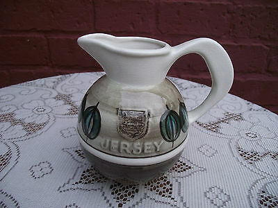 Vtg Retro Jersey Pottery Jug 3 Lions Heraldic Shield Coat Of Arms