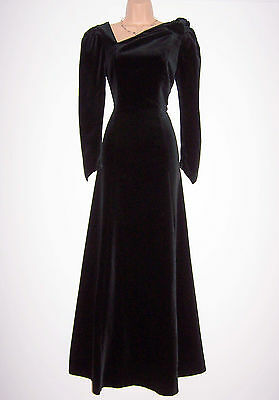 Nwt Laura Ashley Vintage Sample Winter' 89 Black Velvet Evening Maxi Dress 12 Uk
